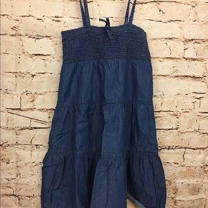 At Last Girls Denim Dress Strapless Summer Size S